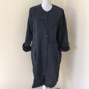 Eileen Fisher large linen button down dress